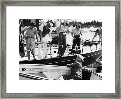 Fdr Presidency. Seated, In Launch Us Framed Print by Everett
