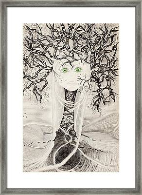 Framed Print featuring the drawing Fear by Yolanda Raker