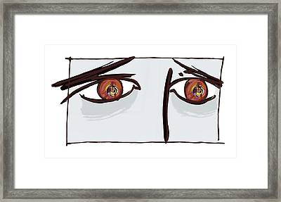 Fearful Eyes, Artwork Framed Print by Paul Brown