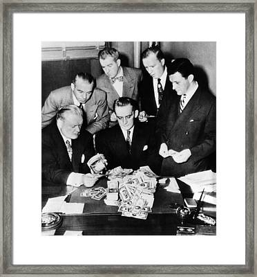 Federal And State Men Looking At Part Framed Print by Everett