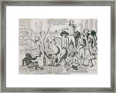 Federalist Cartoon Of 1793 Shows Framed Print by Everett
