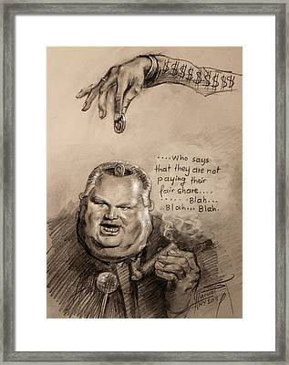 Feeding The Talking Heads Like Rush Limbaugh And Co Framed Print by Ylli Haruni