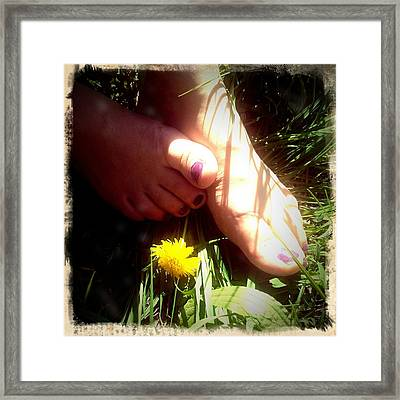 Feet In Grass - Summer Meadow Framed Print