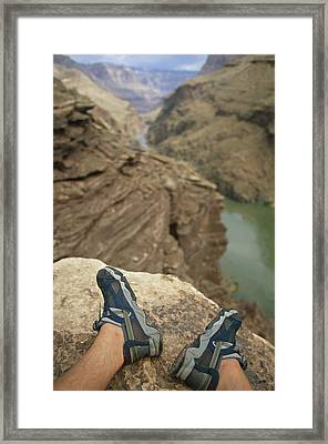 Feet Shod In River Shoes On An Overlook Framed Print by Bobby Model