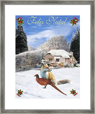 Felix Natal Portuguese Christmas Fox And Pheasant Framed Print
