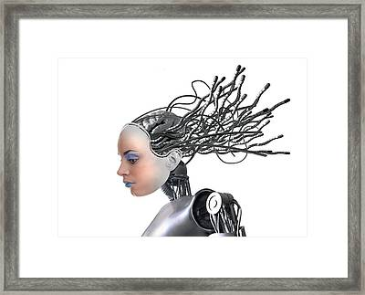 Female Cyborg, Artwork Framed Print by Victor Habbick Visions