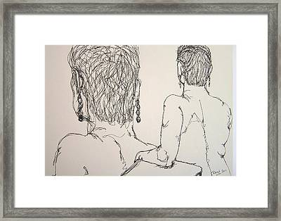 Female Nude Beside Herself Framed Print