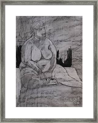 Female Nude Seated Framed Print by Joanne Claxton