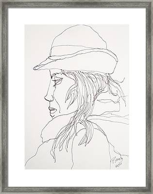 Framed Print featuring the drawing Female Portrait 017 by Rand Swift