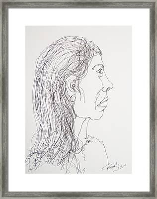 Female Portrait On Bus Framed Print