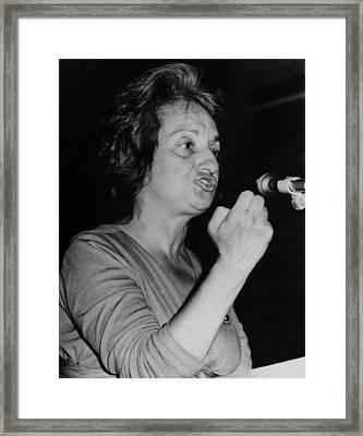 Feminist Author Betty Friedan Speaking Framed Print