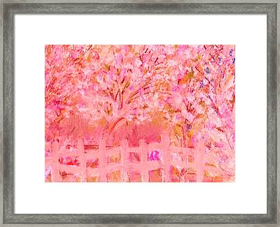 Fence And Trees On Another Day Framed Print by Anne-Elizabeth Whiteway