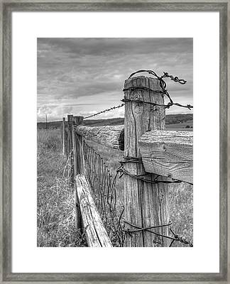 Fence And Wire Framed Print