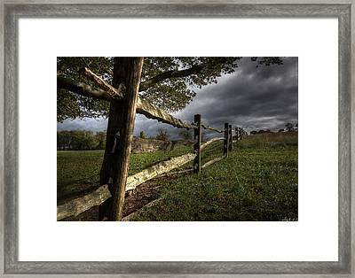 Fence At Coggshall Farm Framed Print
