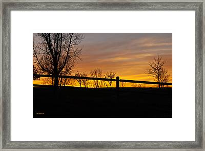 Fence At Sunset Framed Print by Edward Peterson
