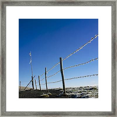 Fence Covered In Hoarfrost In Winter Framed Print