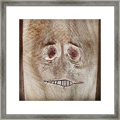 #fence #face #wood #knot Framed Print by Cameron Bentley