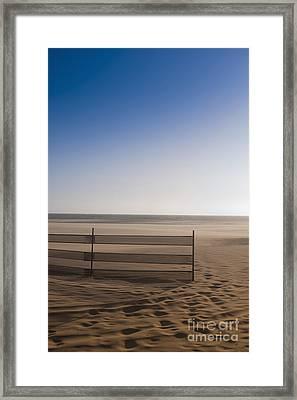 Fence On Beach Framed Print by Sam Bloomberg-rissman
