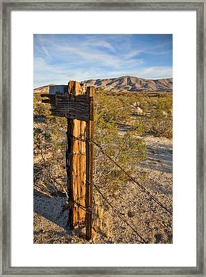 Fence Post And Barbed Wire Framed Print by Peter Tellone
