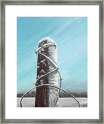 Fence Post In Winter Field Framed Print