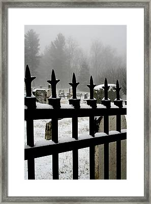 Fence With Snow Framed Print