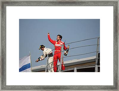 Framed Print featuring the photograph Fernando Alonso And Sergio Perez by David Grant
