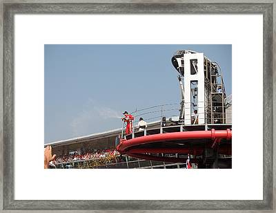Framed Print featuring the photograph Fernando Alonso At Monza 2012 by David Grant