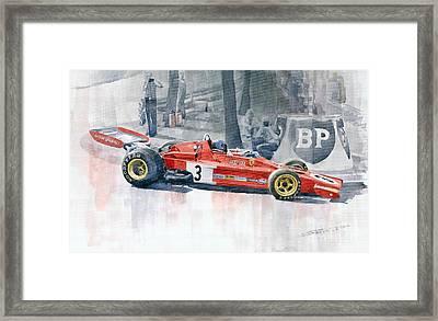 Ferrari 312 B3 Monaco Gp 1973 Jacky Ickx Framed Print by Yuriy  Shevchuk