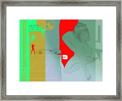 Ferrari And A Girl Framed Print by Naxart Studio