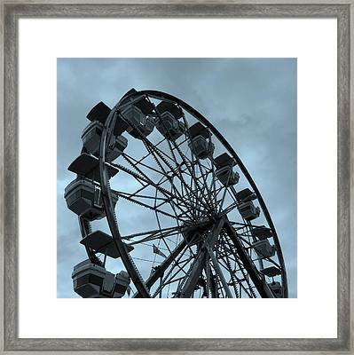 Framed Print featuring the photograph Ferris Wheel Blue Sky by Ramona Johnston