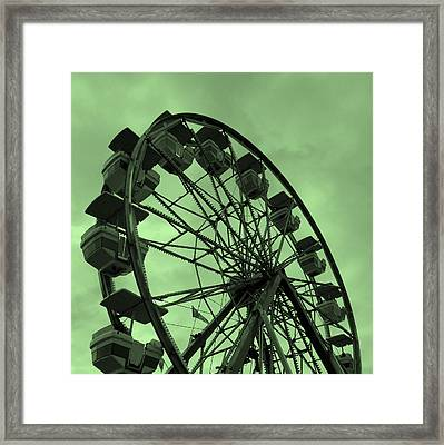 Framed Print featuring the photograph Ferris Wheel Green Sky by Ramona Johnston