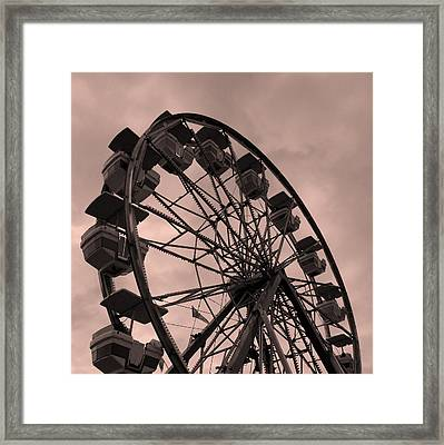 Framed Print featuring the photograph Ferris Wheel Pink Sky by Ramona Johnston
