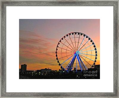 Framed Print featuring the photograph Ferris Wheel Sunset 2 by Eve Spring