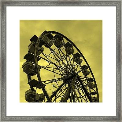 Framed Print featuring the photograph Ferris Wheel Yellow Sky by Ramona Johnston