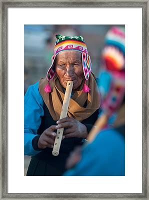 Festival De Danzas Tradicionales En La Poblacion Detiwanaku. Republica De Bolivia. Framed Print