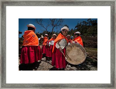 Festival Of Music And Traditional Dances. Population Of Copusquia. Republic Of Bolivia. Framed Print