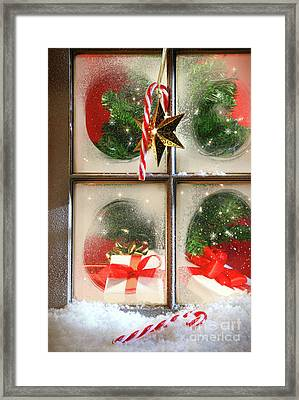 Festive Holiday Window Framed Print by Sandra Cunningham