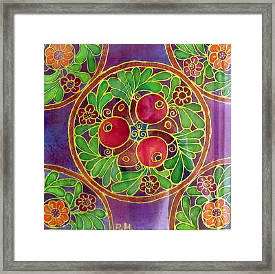 Festive Pomegranates In Gold And Vivid Colors Wall Decor In Red Green Purple Branch Leaves Flowers Framed Print