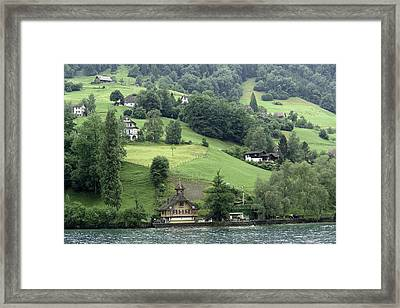 Few Houses On The Slope Of Mountain Next To Lake Lucerne Framed Print by Ashish Agarwal