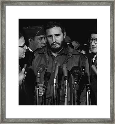 Fidel Castro Arrives Mats Terminal Framed Print by Everett