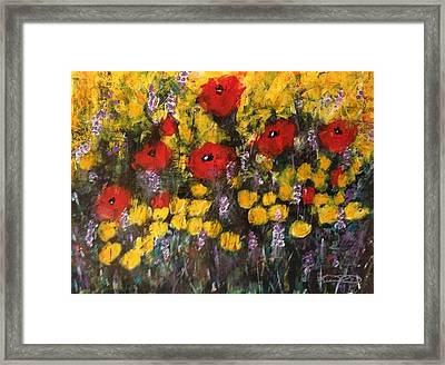 Field Of Flowers With Poppies Framed Print by Kelli Perk