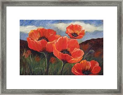 Field Of Orange Poppies Framed Print