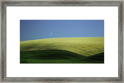 Fields And Quarter Moon Framed Print by Dale Stillman