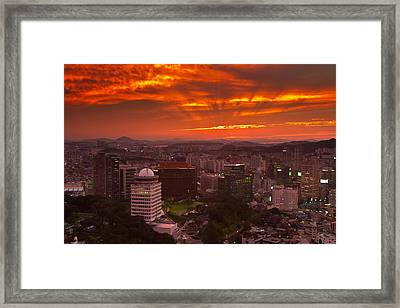 Fiery Seoul Sunset Framed Print