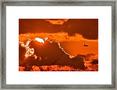 Framed Print featuring the photograph Fiery Skies by Scott Holmes