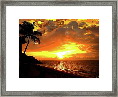 Fiery Sunset Framed Print by Yiries Saad