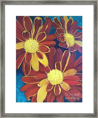Framed Print featuring the painting Fiesta Daisies by Lucia Grilletto