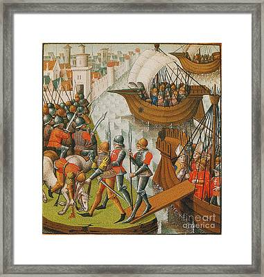 Fifth Crusade Siege Of Damietta 1218 Framed Print by Photo Researchers