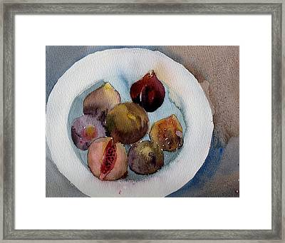 Figs On A Plate Framed Print by Myra  Gallicker