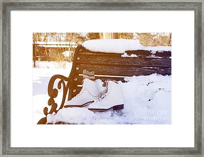 Figure Skates On The Bench Framed Print by Igor Kislev